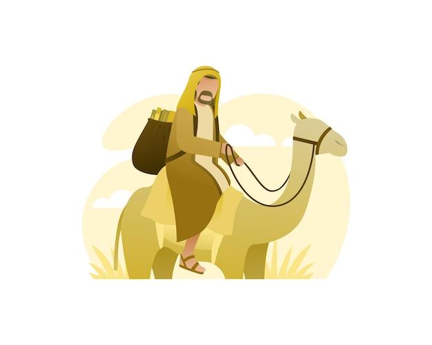 Мужчина-мусульманин едет на верблюде по пустыне