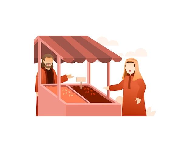 Мужчина-мусульманин продает даты на рынке