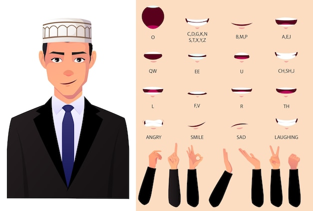 Muslim man in suit lip sync and animation set, with hand gestures.