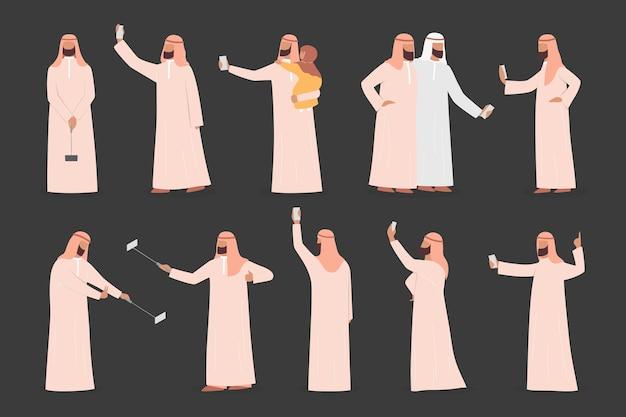 イスラム教徒の男性がselfieセットを取る。アラビア語のキャラクターが友人や家族と一緒に自分の写真を撮る。