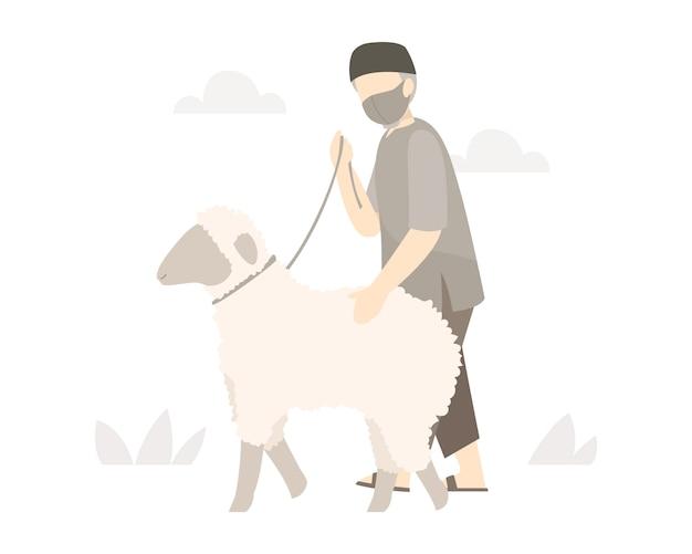 イスラム教徒の男性がイードアルアドハお祝いイラストで犠牲にするモスクに羊と歩く