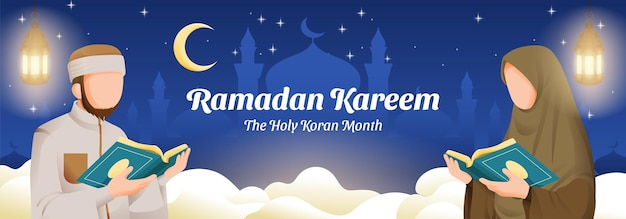 Muslim man and woman reading koran or qur'an in ramadan kareem holy month with crescent moon and stars illustration