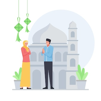 Muslim man and woman stand greeting for eid al fitr.
