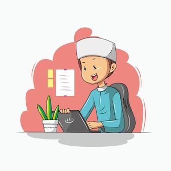 사무실에서 일하는 이슬람 남자