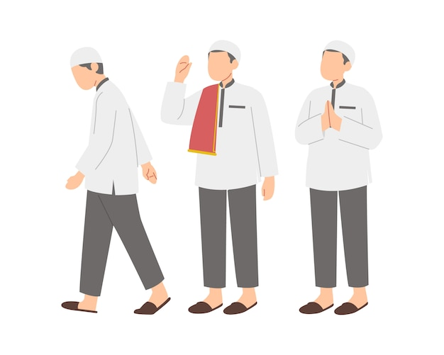 Muslim men character set illustration
