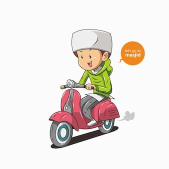 Muslim men ride motorbikes Premium Vector