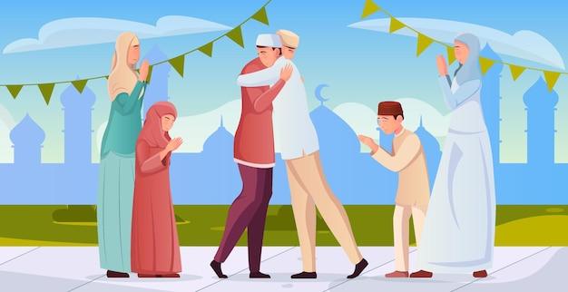 Мужчины-мусульмане, женщины и дети приветствуют друг друга во время плоской иллюстрации рамадана