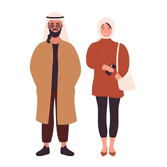 Muslim modern young couple people arab young man and woman standing together wearing modern clothes