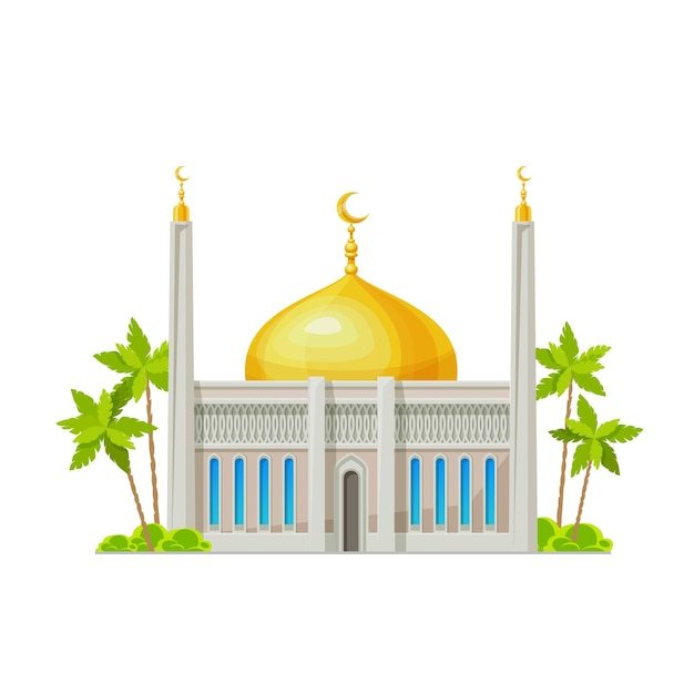 Muslim mosque building icon. islam religion temple, arabian culture architecture cartoon vector building exterior front view with crescents on minaret towers and golden dome, palm trees