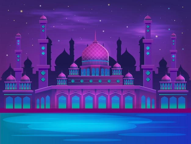 Muslim mosque in the night vector illustation