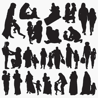 Muslim mother and child silhouettes set