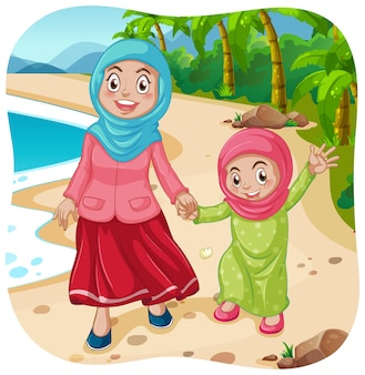 Muslim mother and daughter cartoon character