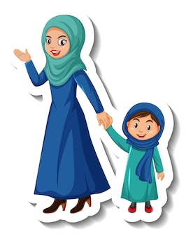 Adesivo personaggio dei cartoni animati di madre musulmana e figlia su sfondo bianco