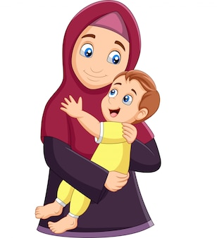 Muslim mother hugging her son