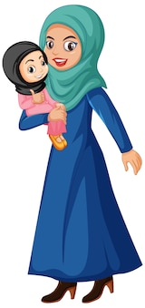 Muslim mother and kid cartoon character