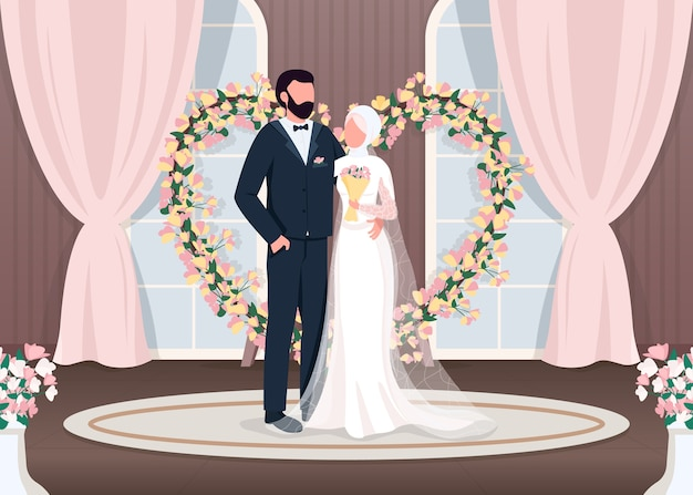 이슬람 신혼 부부 평면 컬러 일러스트