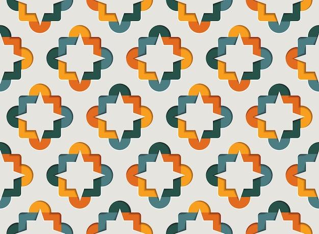 Muslim ornamental arabesque seamless pattern for ramadan kareem. east motif paper style background