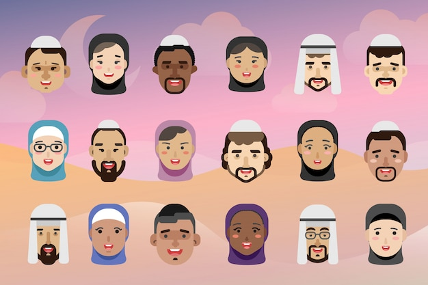 Muslim people avatars, men and women of different nationalities