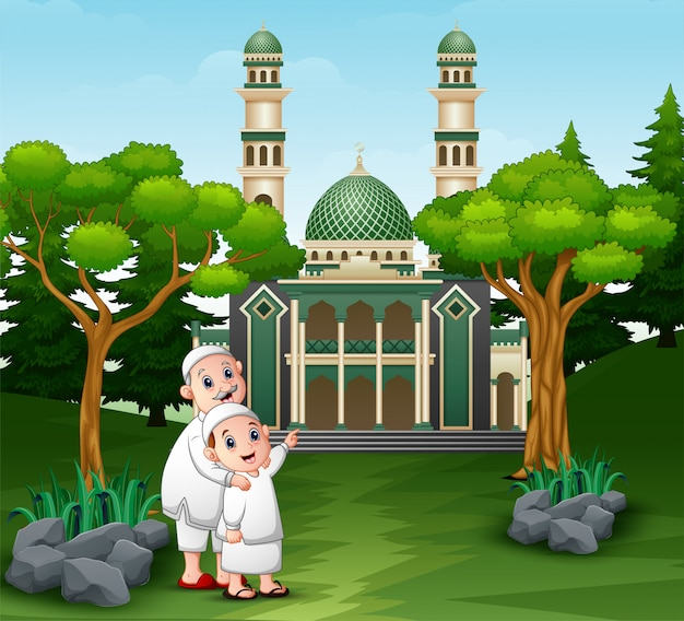 Muslim people cartoon going to the mosque