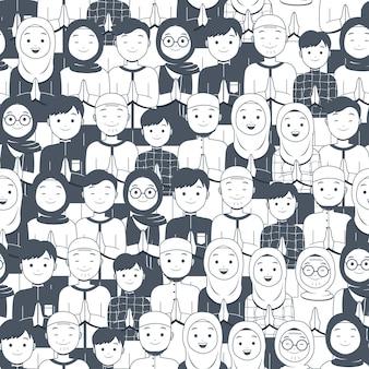 Мусульманские люди празднуют ид мубарак бесшовные модели