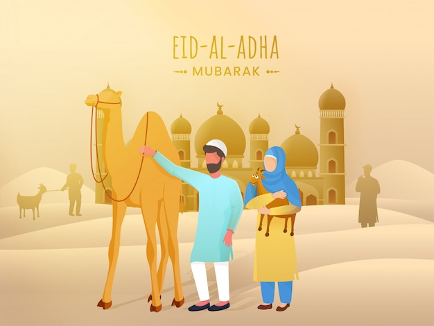 Muslim people character with cartoon camel and goat in front of mosque on desert background for eid-al-adha mubarak celebration.