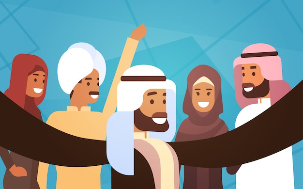 Muslim people crown man and woman traditional clothes arabic characters