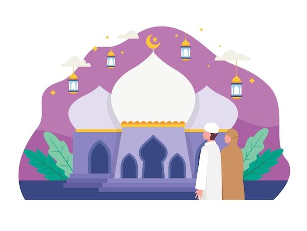 祈りのためにモスクに行くイスラム教徒の人々。フラットスタイルのイラスト