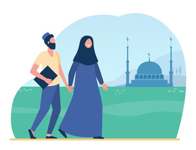 モスクに行くイスラム教徒の人々。イスラム教、ヒジャーブ、崇拝フラットイラスト。漫画イラスト