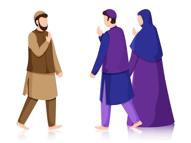 Muslim people greeting each other