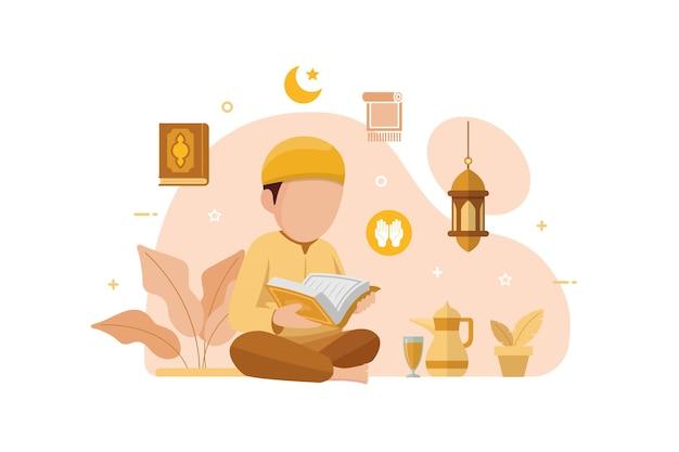 Мусульмане читают и изучают исламскую священную книгу корана