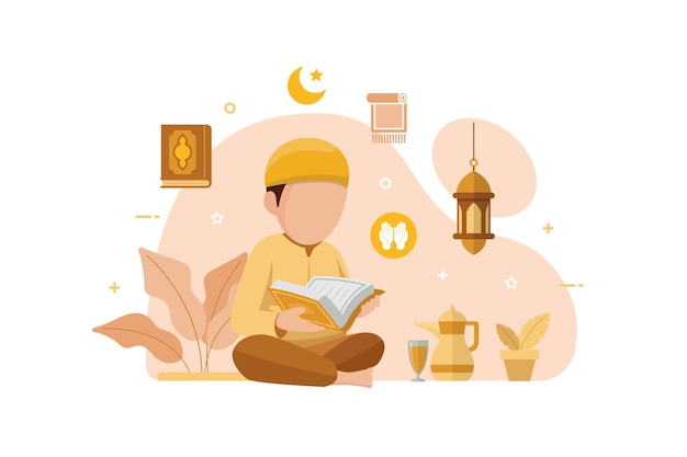 Muslim people reading and learning the quran islamic holy book
