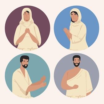 伝統的な布で設定されたイスラム教徒の人々