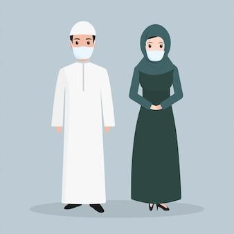 Muslim people wearing face mask illustration