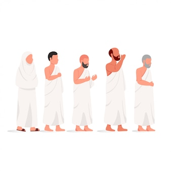Muslim people wearing ihram hajj illustration