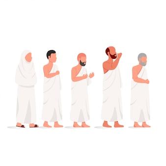 Muslim people wearing ihram hajj illustration