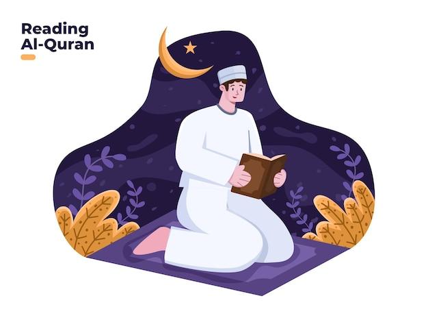 꾸란 또는 알 꾸란 그림을 읽는 무슬림 사람