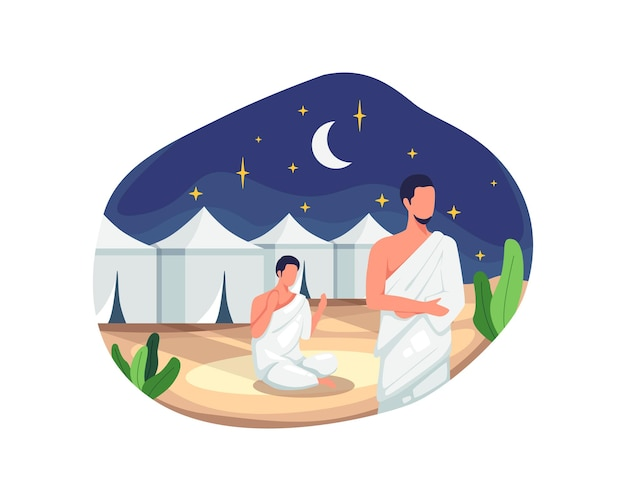 Muslim pilgrims at mina tents area. one of islam's sacred pilgrimage route, hajj pilgrims praying and resting in mina. vector illustration in a flat style