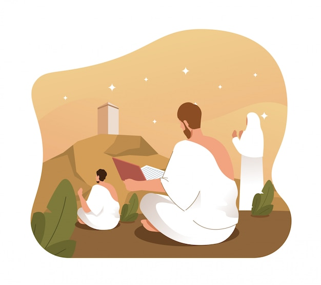 イスラム教徒の巡礼者はアラファトで聖クルアーンを祈り、朗読します。メッカ巡礼の儀式