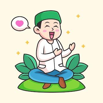 Мусульмане молятся аллаху мультфильм. иконка иллюстрация. концепция значок человек изолированные