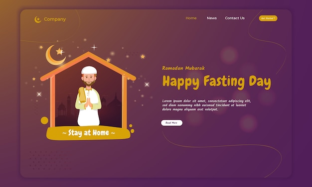 A muslim pray and worship at home for ramadan concept on landing page