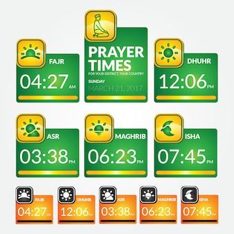 Muslim prayer times template premium vector