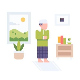Muslim praying at home  illustration