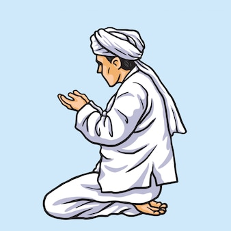 Muslim praying in ramadan kareem