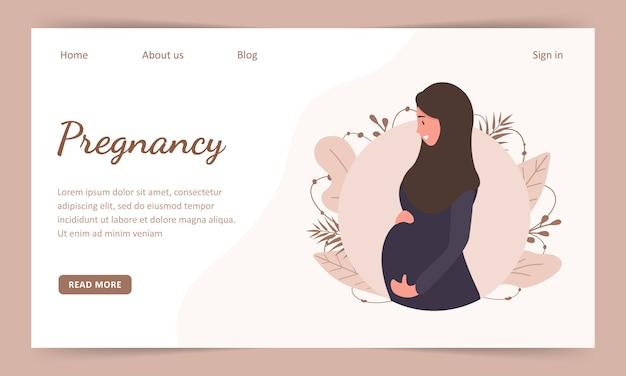 アバヤとヒジャーブのイスラム教徒の妊娠中の女性。 landindページテンプレート。