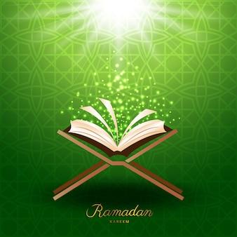 イスラム教のラマダンのための魔法の光とイスラム教のコーラン
