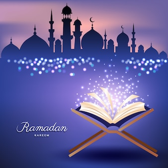 Muslim quran with mosque and abstract candles light for ramadan of islam