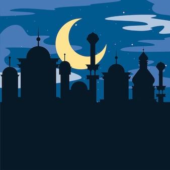 夜のイスラム教徒のシルエットの寺院