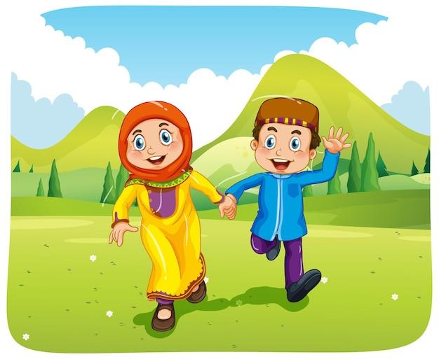 Personaggio dei cartoni animati musulmano sorella e fratello