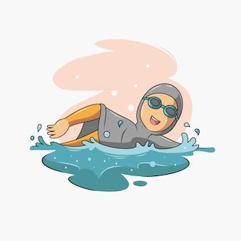 Of a muslim swimming illustration