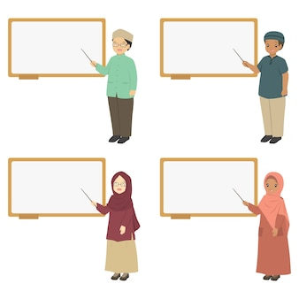 Muslim teachers pointing at a whiteboard, vector collection.